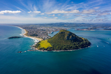 Wide view of Mt Maunganui in Tauranga, New Zealand. Wide aerial view with copy space
