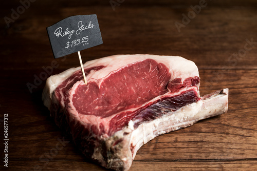 Fresh rib eye steak food photography recipe idea