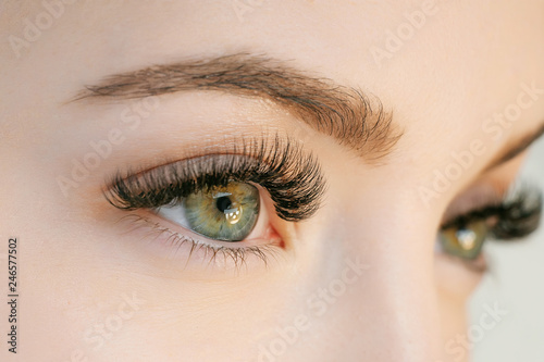 Fototapeta Close up view of beautiful green female eye with long eyelashes, smooth healthy skin