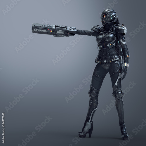 Science fiction cyborg female standing and shooting with gun Fototapet