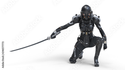 Photo Science fiction cyborg female kneeling on one knee holding a katana in one hand