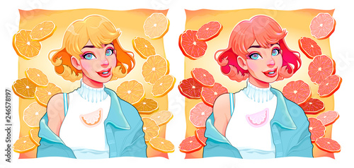 Two girls with slices of lemon and orange on backgrounds