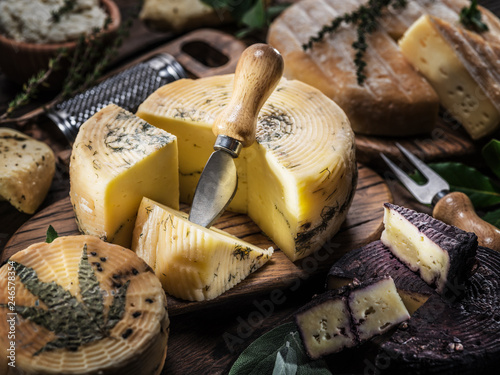 Homemade cheeses on the wooden background.
