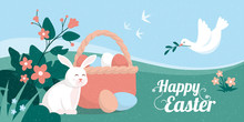 Easter Card With Bunny, Eggs And Dove