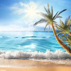 Panel Szklany Optyczne powiększenie Summer landscape, nature of tropical beach with rays of sun light. Golden sand beach, palm tree, wave sea water, blue sky with white clouds. Copy space, summer vacation concept.