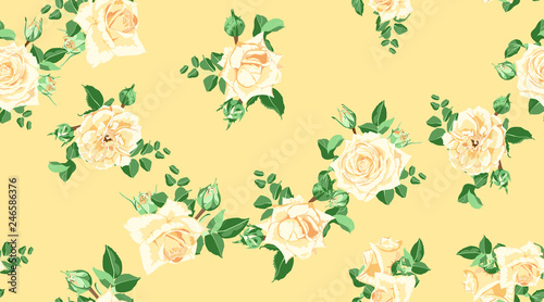 Fototapety, obrazy: Floral Seamless Pattern with Vintage Roses.