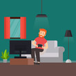 man playing game, vector illustration