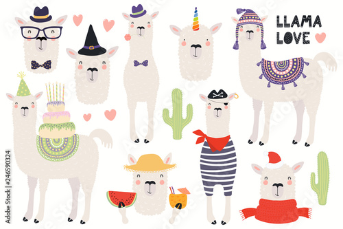 Canvas Prints Illustrations Set of cute funny llamas, pirate, summer, witch, unicorn, birthday, hipster. Isolated objects on white background. Hand drawn vector illustration. Scandinavian style flat design. Concept kids print.
