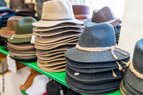 c7733f85 Vintage tyrol hats in souvenir shop - Buy this stock photo and ...