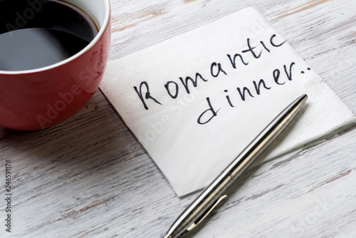 Fotografia  Romantic message written on napkin