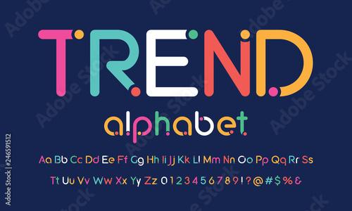 Cuadros en Lienzo  Trendy rounded dot alphabet design