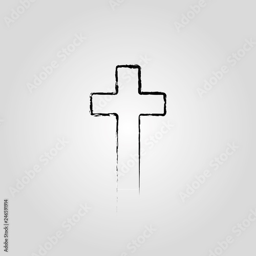 Canvas Print Abstract Christian cross black in hand drawn style Christian cross sign
