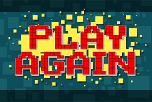Red Pixel Retro Play Again Button For Video Games