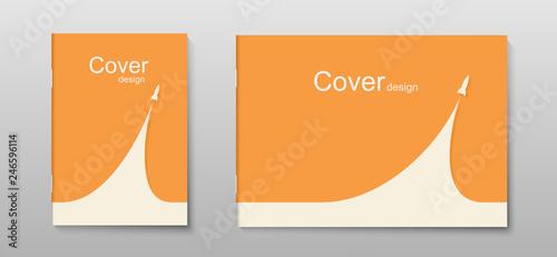 Cuadros en Lienzo Book cover or brochure minimal design with rocket launch