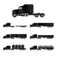 Set Of Truck Silhouettes Of Trucks On White Background