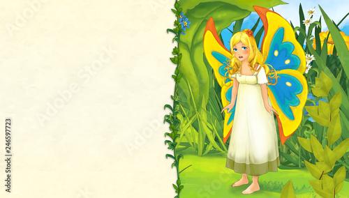 scena kreskówka z księżniczką motyl na łące - z miejscem na tekst - ilustracja dla dzieci