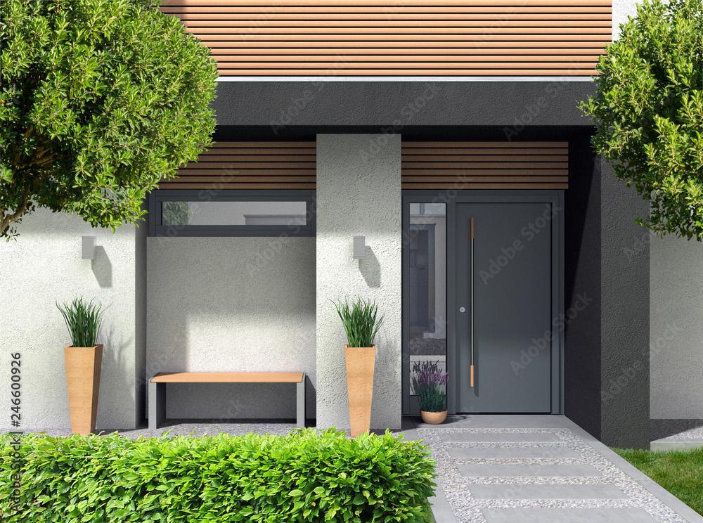 Fototapeta 3D rendering und composite Bild eines modernen Hauseingangs für ein Einfamilienhaus mit Vorgarten