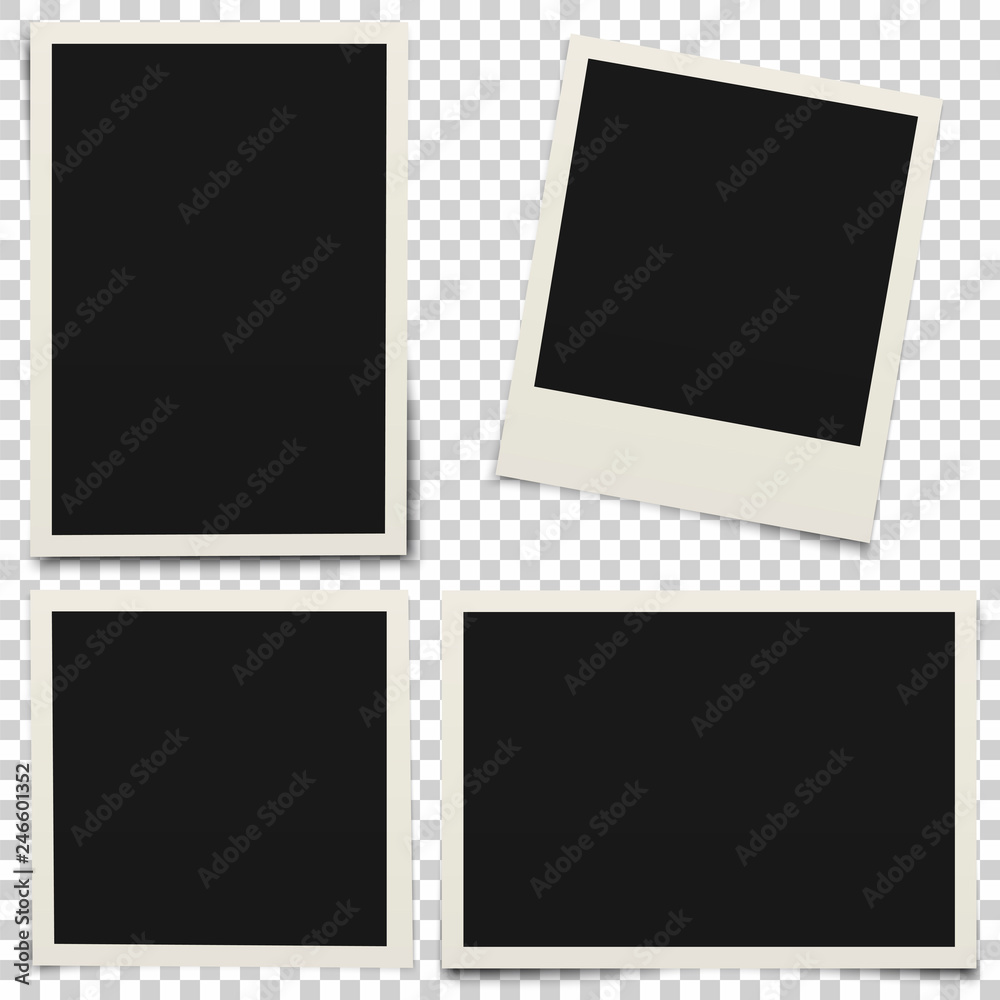 Fototapety, obrazy: Empty photo frames with shadow isolated on transparent background.