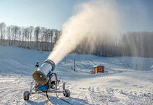 Snow Gun Machine Producing Fresh Snow.