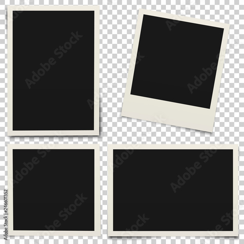 Empty photo frames with shadow isolated on transparent background Canvas-taulu