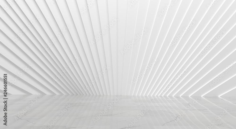 White Empty Art Deco Interior (3D Illustration)
