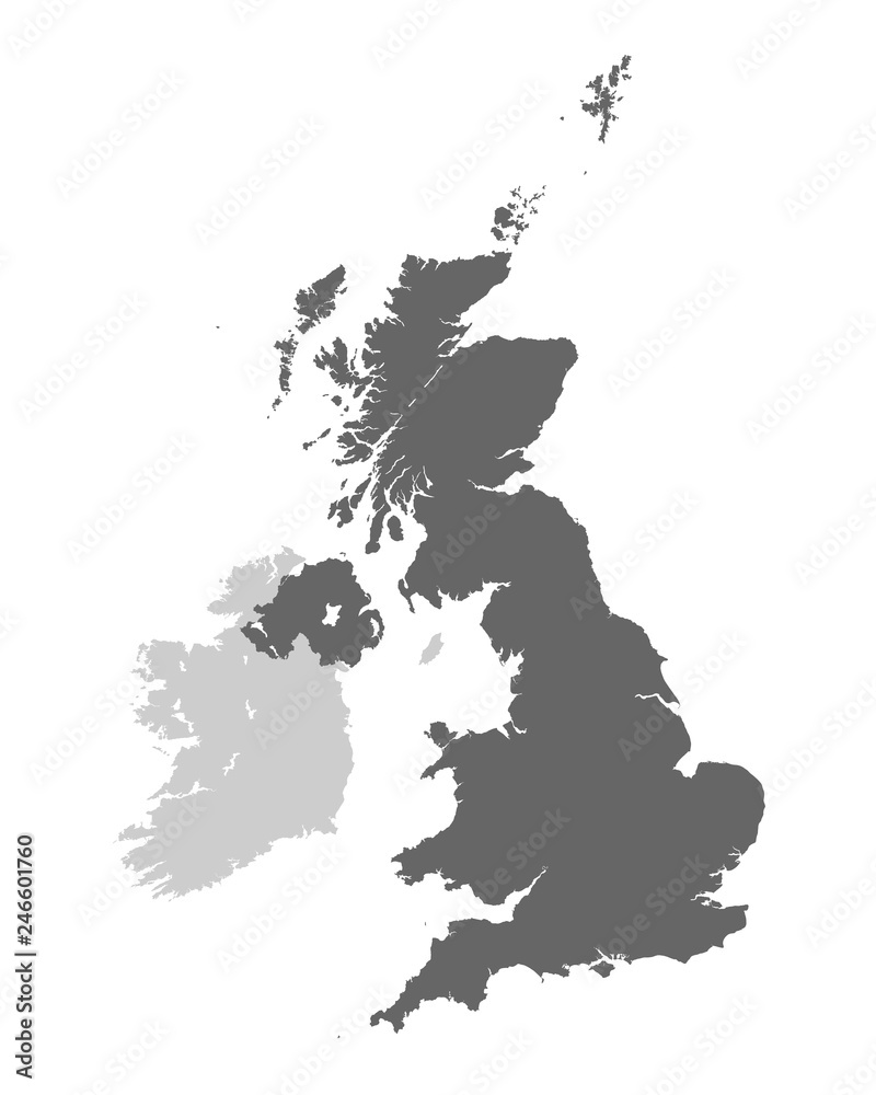 Fototapety, obrazy: United Kingdom of Great Britain and Northern Ireland contour map. Vector illustration.