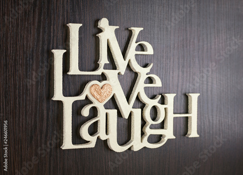 Photo  love, heart, live, laugh lettering gift on valentine in letters