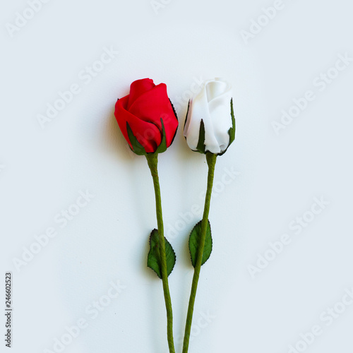 Wall Murals Tulip Beautiful roses are made from fabric for Valentine's Day.on the White Blackground.