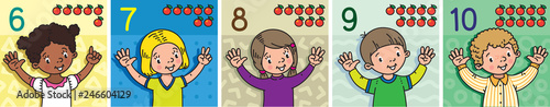 Kids showing numbers 6 to 10 by fingers. Education