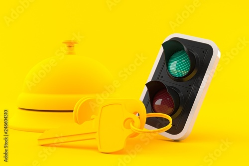 Fotografía  Hospitality background with green light