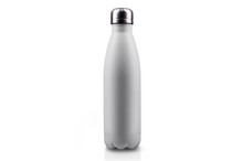 White Empty Stainless Thermo Water Bottle Close-up Isolated On White Background.