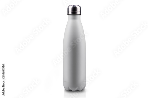 Canvastavla White empty stainless thermo water bottle close-up isolated on white background