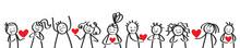Valentinstag, Liebe, Strichmännchen Verschenken Herz An Freunde