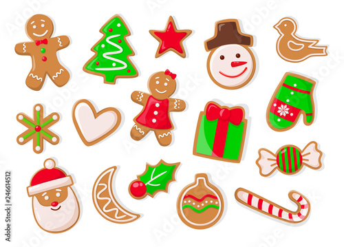 Fotografia Christmas holidays symbolic isolated icons of gingerbread cookies vector