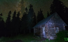 Charming Lunar And Starry Nights With The Milky Way In The Ukrainian Carpathians With Mountain Houses.