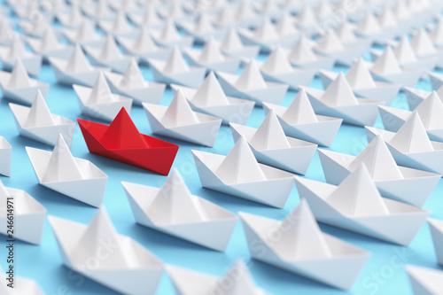 Fotografía  Viele Origami Schiffe als Individualität Konzept