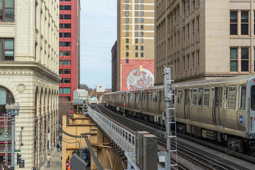 The view of Harold Washington Library-State/Van Buren train station in Chicago,USA