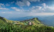 Phu Phang Ma Beautiful Mountain View Of Green Hill With Cloudy Sky Background, Phu Hin Rong Kla National Park, Phitsanulok - Phetchabun, Thailand.