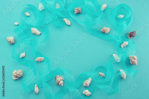 Different sea shells on blue background Top view flat lay