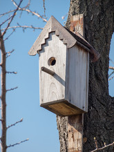 Handmade Birdhouse Hanging On A Tree In The Orchard.