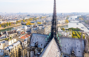 View from the tower of Notre-Dame de Paris over the ile de la Cite and the Seine with the rooftop and spire of the cathedral in the foreground and tour boats cruising on the river by a misty morning.