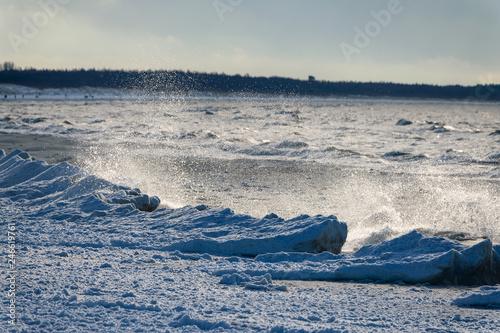 Fotografie, Obraz  Icy Baltic sea coast in winter at Liepaja city, Latvia.