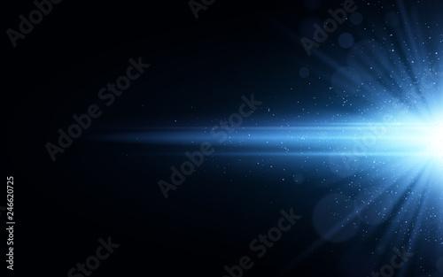 Fotografía  Stylish blue light effect isolated on black background