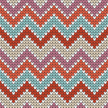 Knitted Zigzag Pattern Seamless Retro