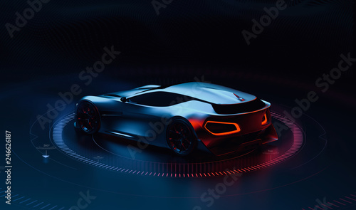 Fotografiet Futuristic hi tech sports car (3D Illustration)