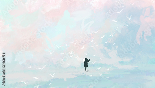 Foto auf AluDibond Licht blau Woman on the background of the pastel sky. Digital art