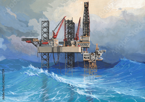 Drilling platform in a raging sea