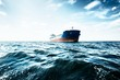 canvas print picture - Cargo ship under the cloudy blue sky, Baltic sea, Latvia