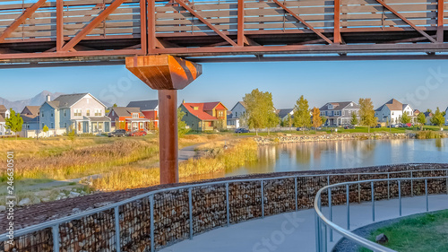Canvas Print Trails and bridge in Oquirrh Lake Daybreak Utah