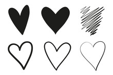 Hand Drawn Grungy Hearts On Is...